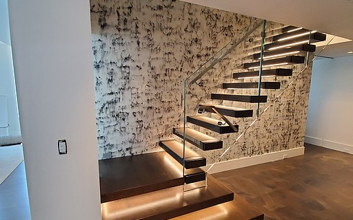 Design Stairs In Glass Wood Steel And Corian By Siller Siller