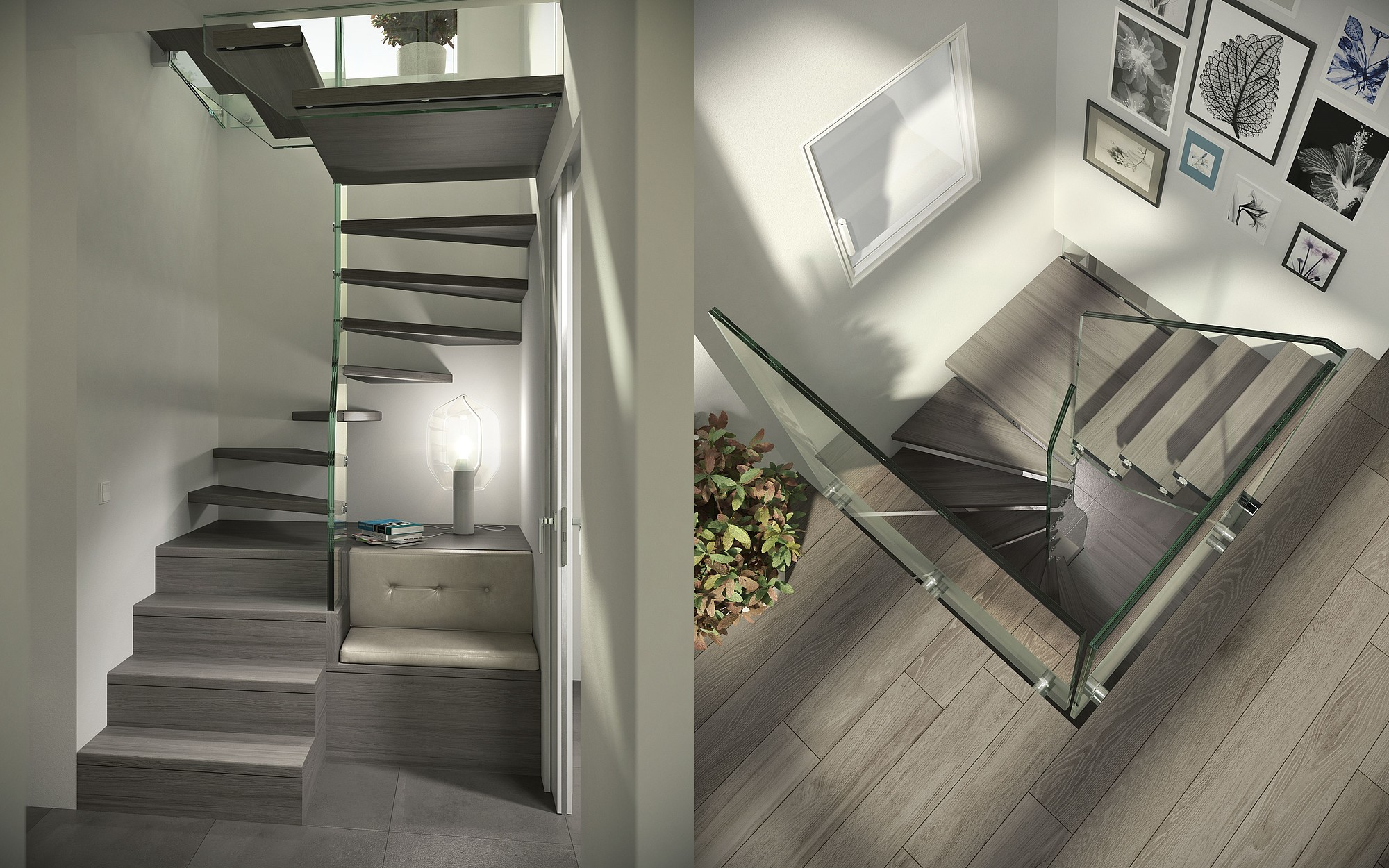 csm glass stair for small space with seating area ef06051da5 - 48+ Stair Design In Small House  Pics