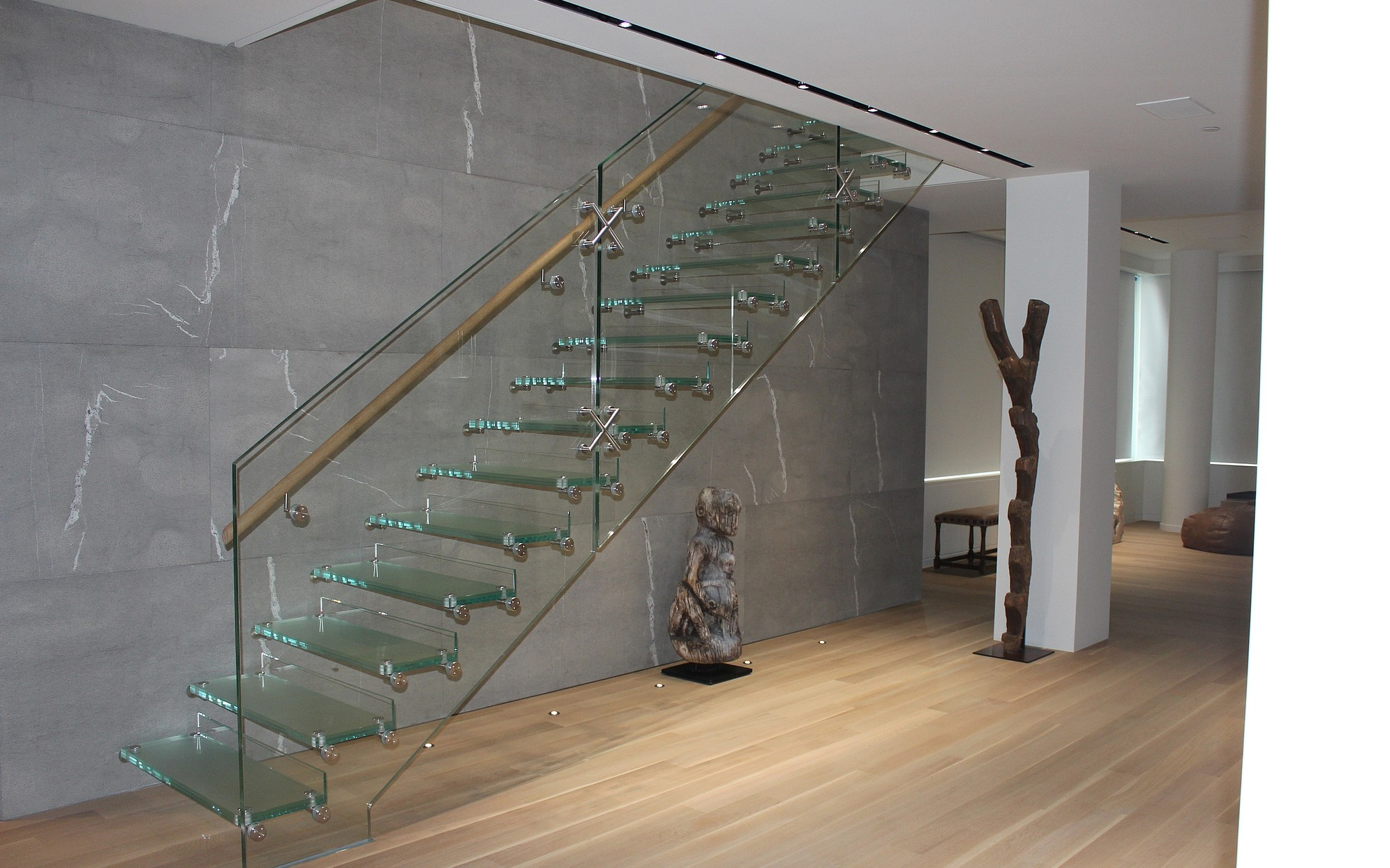 Straight Glass Stair With Anti Slip Coating Siller Stairs