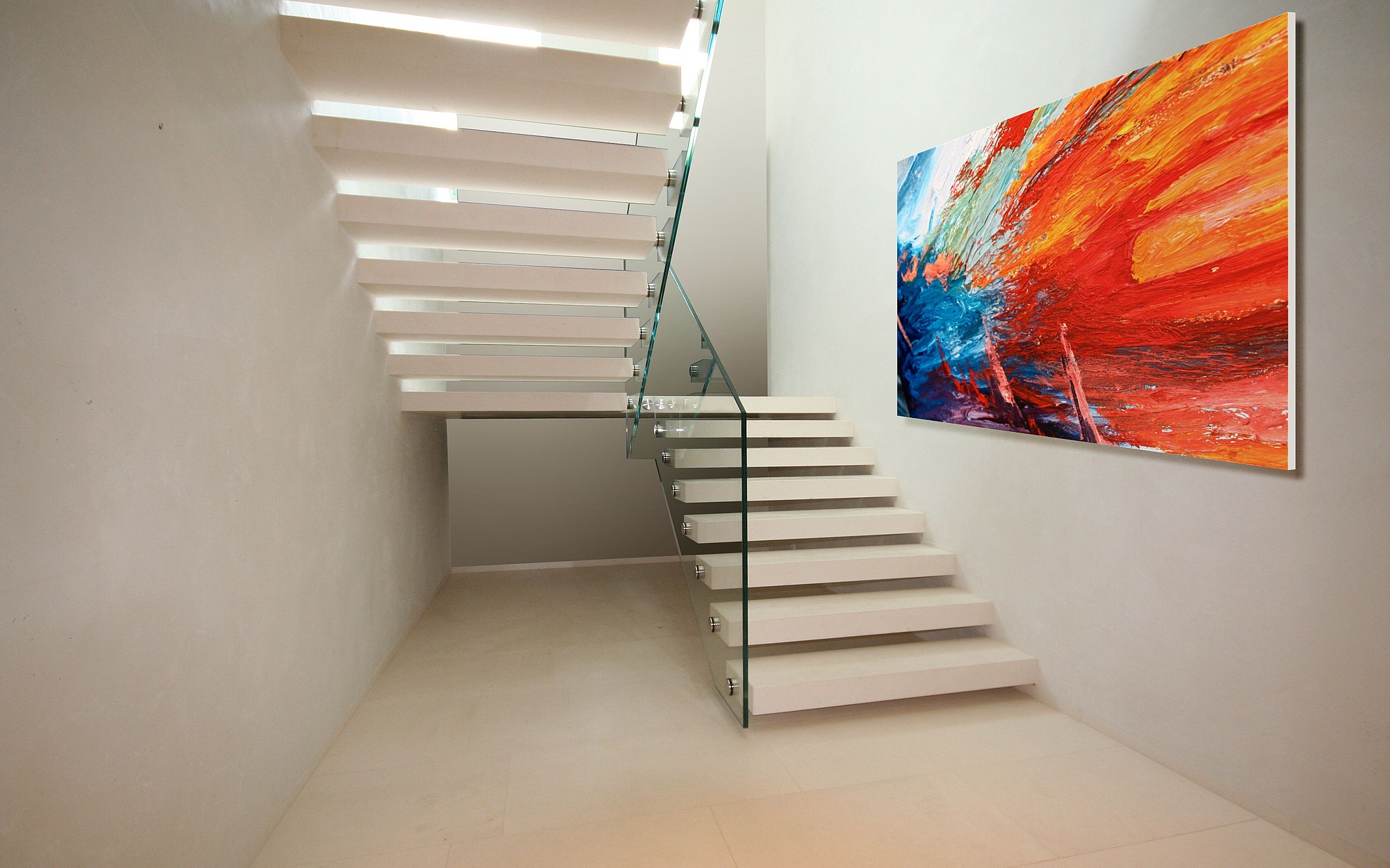 cantilevered stair in corian siller stairs