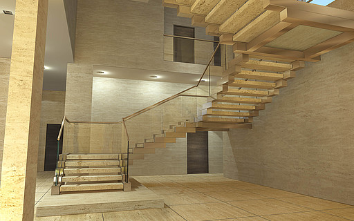 Design Stairs In Glass Wood Steel And Corian